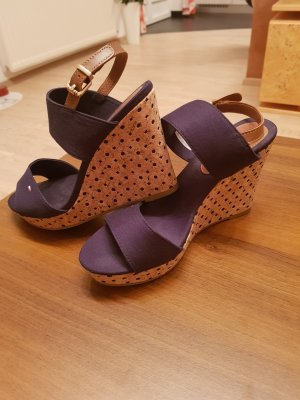 Tommy Hilfiger Wedge Sandals dark blue cotton