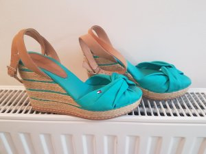 Tommy Hilfiger Wedge Sandals light brown-turquoise