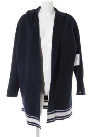 Tommy Hilfiger Giacca di lana blu scuro-bianco motivo a righe stile casual