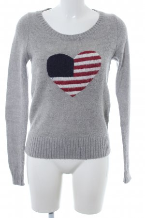 Tommy Hilfiger Wollpullover hellgrau Herzmuster Casual-Look