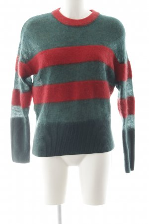 Tommy Hilfiger Wollpullover rot-dunkelgrün Streifenmuster Casual-Look