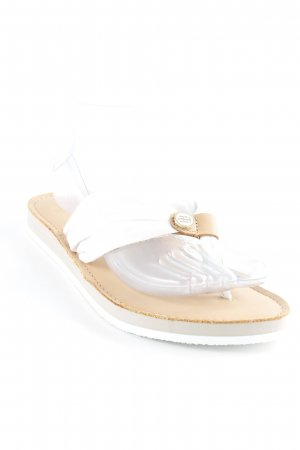 Tommy Hilfiger High-Heeled Toe-Post Sandals white-brown beach look