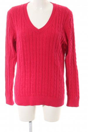 Tommy Hilfiger Zopfpullover rot Zopfmuster Casual-Look