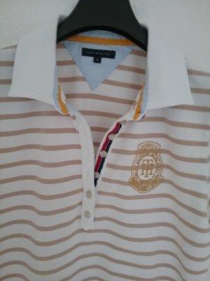 Tommy Hilfinger  Polohemd beige weiss gestreift Gr. 40