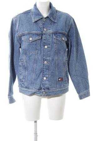 Tommy Jeans Jeansjacke graublau-dunkelblau Schriftzug gestickt Casual-Look