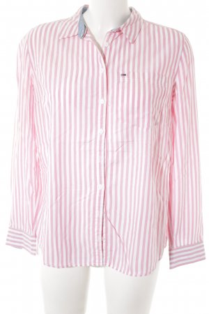 Tommy Jeans Langarmhemd wollweiß-pink Streifenmuster Brit-Look