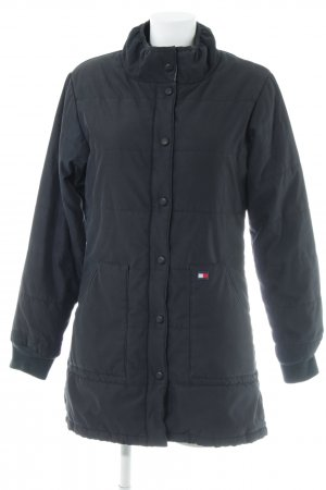Tommy Jeans Lang jack donkerblauw quilten patroon casual uitstraling