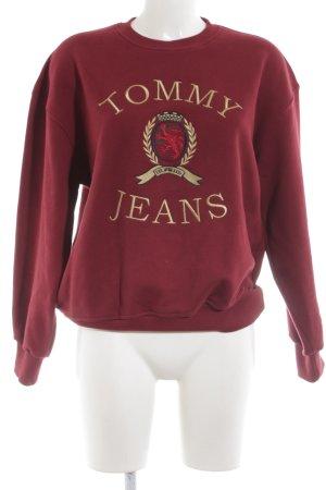 Tommy Jeans Rundhalspullover rot Schriftzug gedruckt schlichter Stil