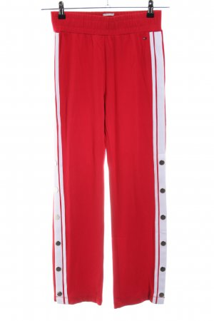 Tommy Jeans Pantalone fitness rosso-bianco motivo a righe stile casual