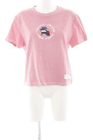 Tommy Jeans T-Shirt rosa-dunkelblau platzierter Druck Casual-Look