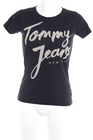 Tommy Jeans T-Shirt schwarz-grau Motivdruck Casual-Look