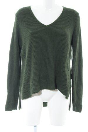 Tommy Jeans V-Ausschnitt-Pullover khaki Casual-Look