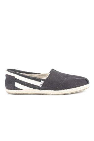 Toms Espadrilles-Sandalen schwarz-creme Streifenmuster Beach-Look