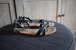 Toms Strapped Sandals black-white cotton