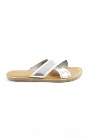 Toms Sabots silver-colored-cream wet-look