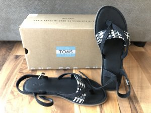 Toms Sandalo toe-post nero-bianco