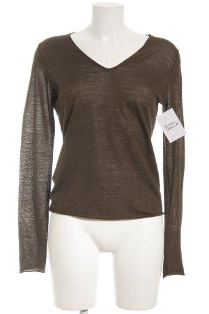 Toni Gard V-Ausschnitt-Pullover dunkelbraun schlichter Stil