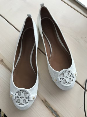 Tory Burch Ballerina wit-wolwit Leer
