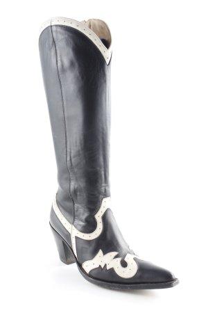 Tony Mora Absatz Stiefel schwarz-wollweiß Country-Look