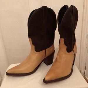 Tony Mora Boots, Westernstiefel, Echtleder, beige-braun, Größe 39, komplett neu