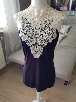 Orsay Top di merletto nero-bianco sporco