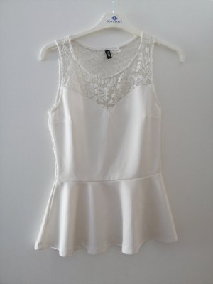 H&M Divided Peplum Top white