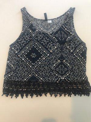 H&M Crochet Top white-dark blue