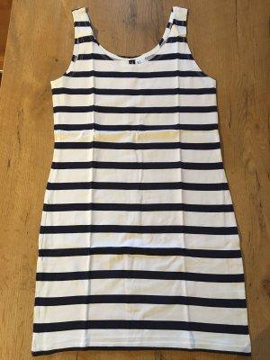 H&M Top lungo bianco-blu scuro