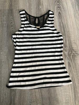 Top schiena coperta nero-bianco