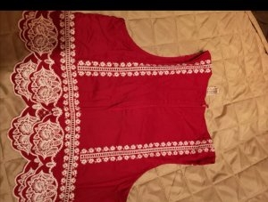 H&M Cropped top wit-rood