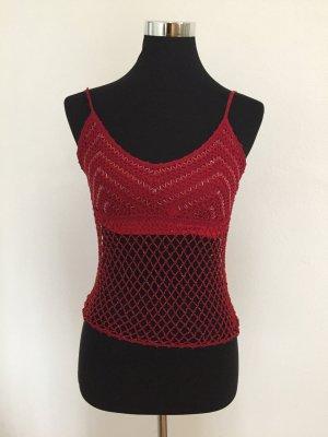 Nicowa Crochet Top dark red