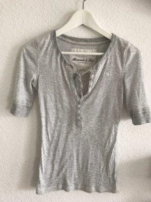 Abercrombie & Fitch Camisa de rayas blanco-gris claro
