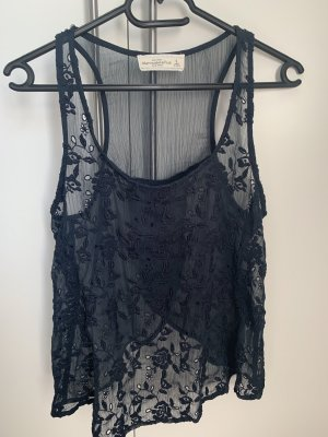 Abercrombie & Fitch Silk Top dark blue