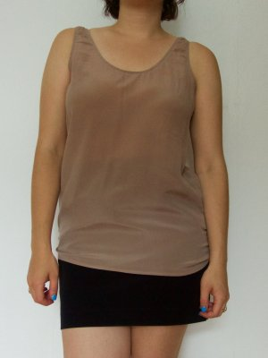 American Vintage Top in seta marrone chiaro Seta