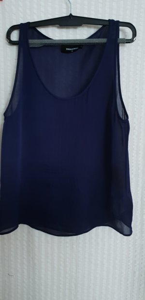 Dsquared2 Top in seta blu scuro