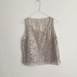 American Apparel Lace Top silver-colored synthetic fibre