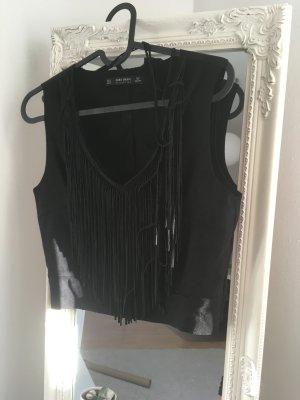 Zara Top negro Imitación de cuero
