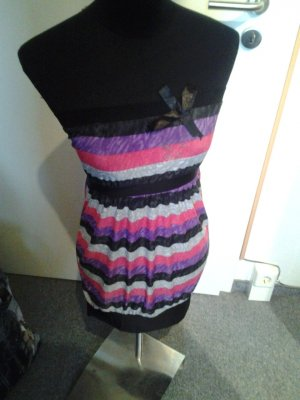 Top - Bandeau - gestreift - grau, lila, pink, schwarz - Muse - Größe 38
