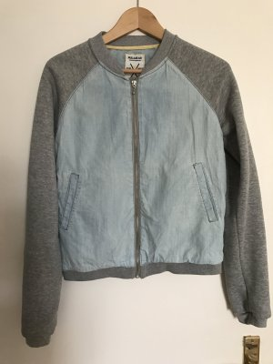 Top Baseball/Collagejacke aus Sweat & Denim
