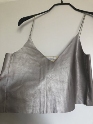 Zara Spaghetti Strap Top silver-colored