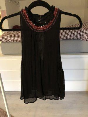 Top Bluse hochgeschlossen schwarz Rückenausschnitt Pull and Bear