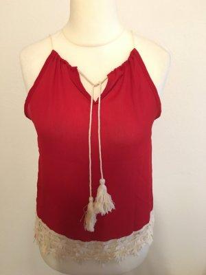 Top Bluse Oberteil Camisole rot weiß Boho Blogger NEU