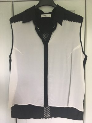 a201bd44569f8 Sandro Paris Sleeveless Blouse white-black silk