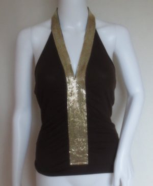 Halter Top brown-gold-colored