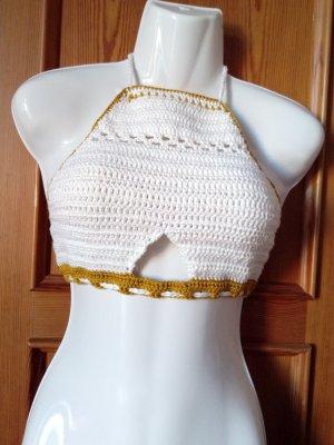 Crop-top blanc-doré coton