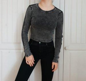 Top Croptop Crop cropped Reißverschluss Grau Schwarz H&M S T-shirt Shirt Pulli Pullover Hoodie