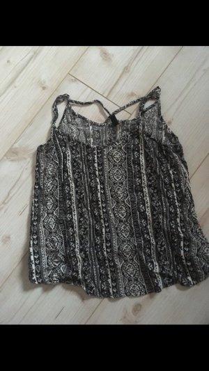 H&M Top de tirantes finos negro-blanco