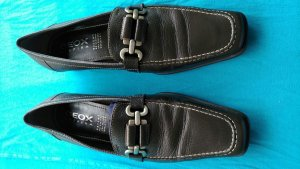 Geox Respira Moccasins dark brown-silver-colored leather