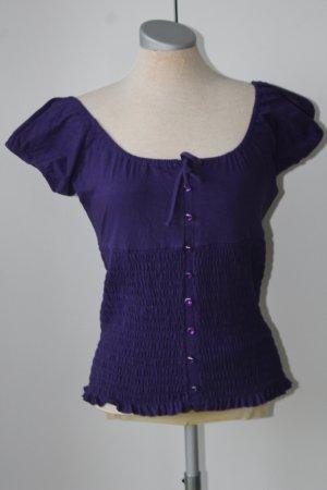 Camisa tipo Carmen violeta oscuro Algodón