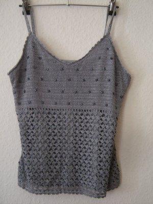 Crochet Top silver-colored
